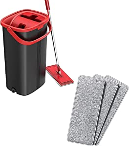 TETHYS Flat Floor Mop with Bucket Set and 3 Pack Microfiber cleaning Pad