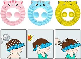3 Pack Baby Shower Cap Cartoon Cat Pattern Waterproof Bathing Hat Adjustable Kids Shower Cap Infants Soft Shampoo Hat for ...