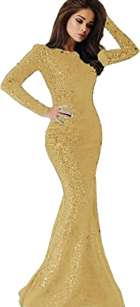 c0b8e8beecd 2019 Long Sleeves Sequins Mermaid Prom Dresses Crew Neck Sweep Train Formal  Party Evening Gowns