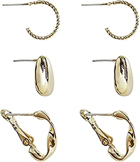 Breeze Earrings for Women, Gold Plated 925 Sterling Silver Stud Earring(3 Pairs)