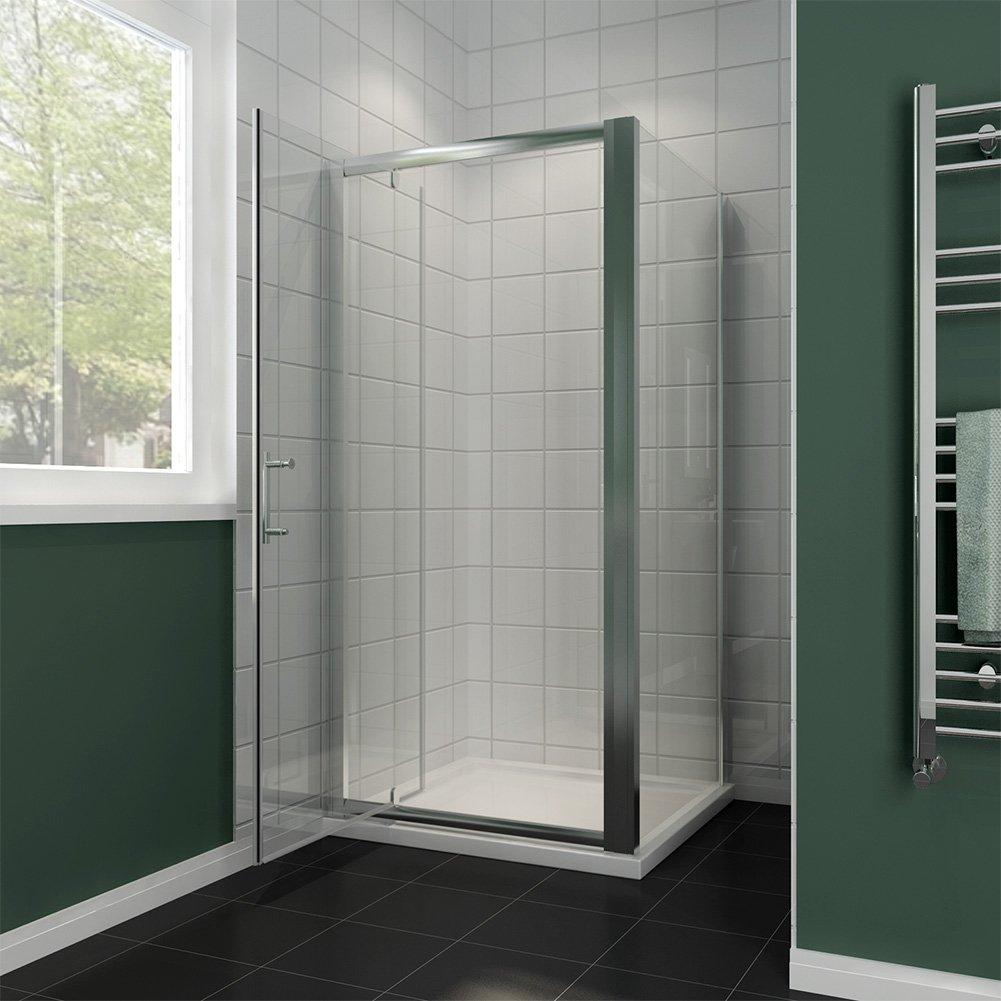 900 x 800 mm mampara de ducha Puerta de pantalla de cristal Panel ...