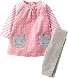 Girls Long Sleeve Clothing Set Animal Appliques Kids Back to School Outfit