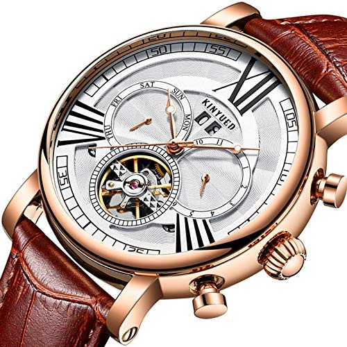 QZPM Hombre Automático Mecanico Relojes, Multifunción Calendario Analogico Mpermeable Cronógrafo Moda Cuero Business Relojes,Rose White
