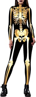 Women Halloween Cosplay Costumes Funny Skeleton Bodysuit 3D Stretch Skinny Jumpsuit One Piece Outfit Catsuit