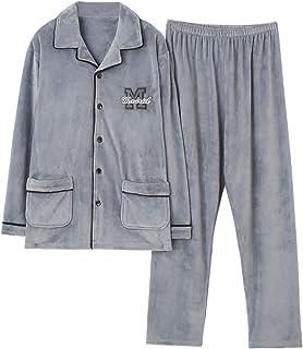 Conjunto de Pijama Grueso para Hombre, pantalón de Manga Larga, Talla Grande, Franela de Coral cálido, Traje de Servicio a Domicilio para Hombre