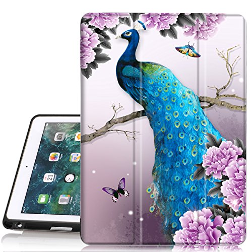 iPad 5th 6th Generation case with Pencil Holder,iPad Air 2 Case,PIXIU Unique Protective Leather Folding Stand Folio Cover with Auto Wake Sleep for New iPad 9.7 Inch 2018 and 2017 Peacock