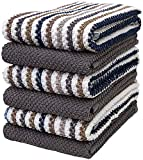 Premium Kitchen Towels (16x 26, 6 Pack)  Large Cotton Kitchen Hand Towels  Popcorn Striped Design  430 GSM Highly Absorbent Tea Towels Set with Hanging Loop  Grey