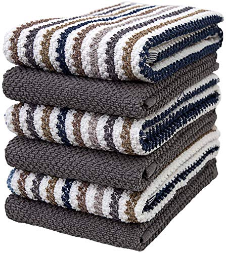 """Premium Kitchen Towels (16""""x 26"""", 6 Pack) – Large Cotton Kitchen Hand Towels – Popcorn Striped Design – 430 GSM Highly Absorbent Tea Towels Set with Hanging Loop – Grey"""