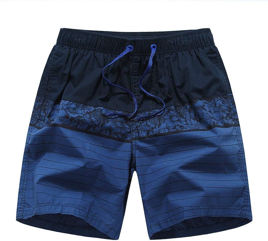 Gergeos Fashion Men Breathable Swim Trunks Stripe Swimwear Beach Shorts Elastic Waist Summer Casual Shorts