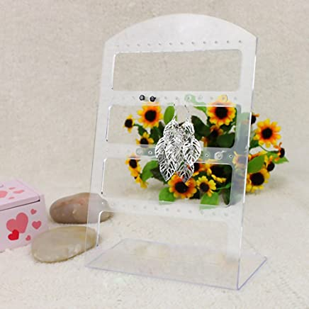 6pcs/lot 48 Holes Earrings Ear Studs Jewelry Show Plastic Display Rack Stand Organizer Holder Christmas (Transparent)