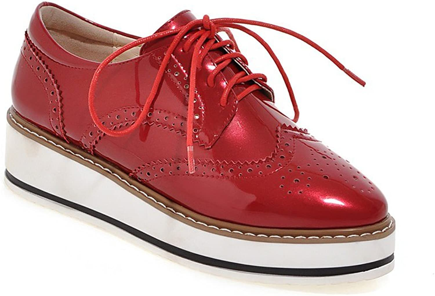 Lucksender Womens Platform Lace Up Round Toe Carve Oxford shoes