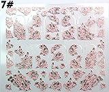 Joyeee 3D Nail Decoration Punte di Arte del Chiodo Adesivi Falsi Chiodo Design Manicure Acqua Diapositiva Tatuaggio Adesivo Decalcomanie Set per Unghie Art Decorazione - Goffrato Fiori Rosa #7