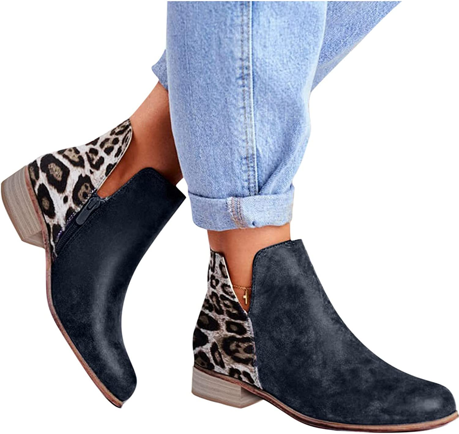 UOCUFY Ankle Boots for Women Low Heel V Cutout On Slip Large-scale sale A Daily bargain sale Leopard