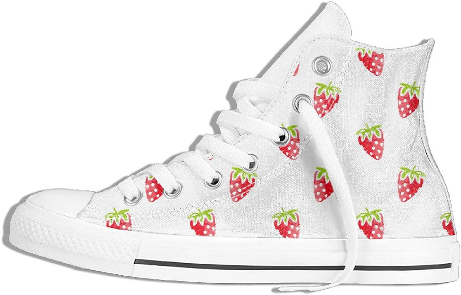 Efbj Strawberry Pattern Unisex Comfortable High Top Canvas Sneaker for Men and Women