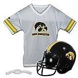 Franklin Sports Iowa Hawkeyes Kids College Football Uniform Set - NCAA Youth Football Uniform Costume - Helmet, Jersey, Chinstrap Set - Youth M