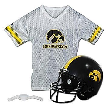 Franklin Sports Iowa Hawkeyes Kids College Football Uniform Set - NCAA Youth Football Uniform Costume - Helmet Jersey Chinstrap Set - Youth M