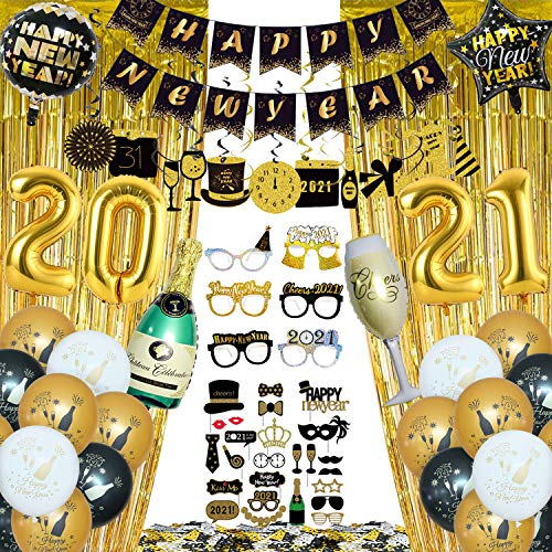 Happy New Year Decorations 2021 Kit, 93 Pcs Happy New Year Party Supplies, Happy New Year Banner, Balloons, 2021 Gold Number Balloons, Happy New Year Glasses, Swirls, Photo Booth Props, Confetti, Curtains