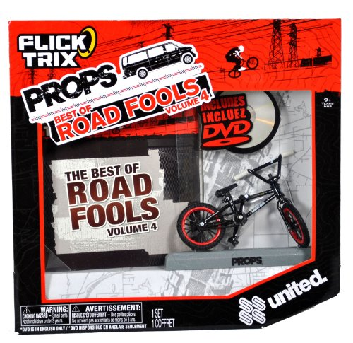 Spinmaster Flick Trix Fingerbike 'Real Bikes, Unreal Tricks' BMX Bicycle Miniature Set - Black Color UNITED Bike with Display Base and DVD Props 'The Best of Road Fools Volume 4'