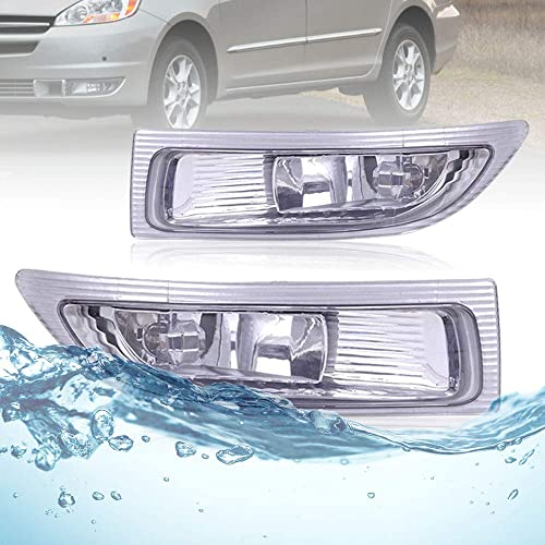 2021 Pair new arrival Set Fog sale Light Housing Assembly, Clear Lens with Bulbs Aftermarket Replacement for 2004-2005 Toyota Sienna 81220-AE010 81210-AE010, Driver and Passenger Sides online sale