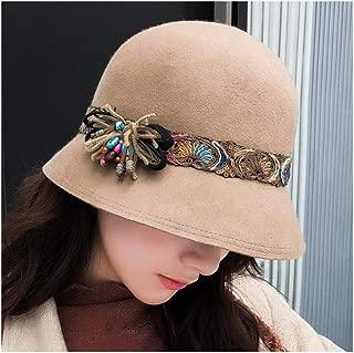 Hats and Caps Women's Flower Hat Wool Bowler Hat Color Embroidery Winter Autumn Retro Winter Ladies Fashion Headdress Dome (Color : Khaki, Size : 56-58CM)