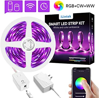 WiFi LED Strip Lights RGBWW 9.8ft - Lumary Color Changing Light Strip Kits Music Sync Waterproof Work with Alexa Google Home (RGB +Warm White +Cold White9.8ft)