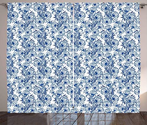 ABAKUHAUS Blau Rustikaler Gardine, Russische Gzhel-Art-Flora, Schlafzimmer Kräuselband Vorhang mit Schlaufen und Haken, 280 x 175 cm, Kobaltblau Weiß
