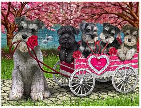 2021 I Recommended Love Schnauzer Dogs in a Cart Puzzle pc. Photo 252 Tin 1 with