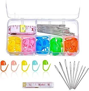 Zasiene Kit Tricot 71 Pièces Outil à Tricoter avec Boîte de Rangement Ensemble d'outils de Crochet à Tricoter Anneau Marqu...