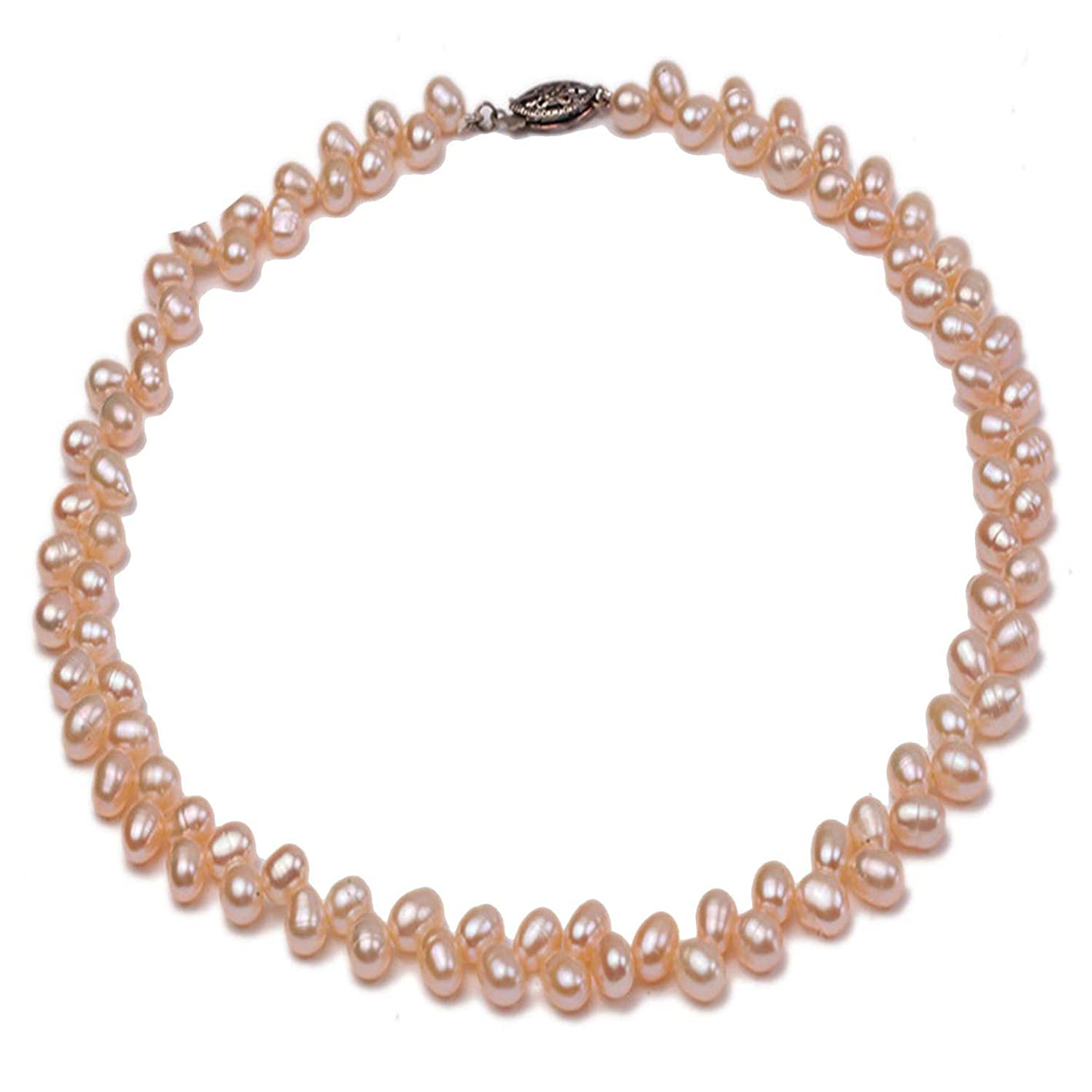 Love-mebetter Natural Choker Necklace 5.5-7mm Pink Pearl Necklace Wheat-Ear-Shaped Freshwater Pearl Single Strand Necklace,Pink 15.5 Inches gtkmtwvuobh107