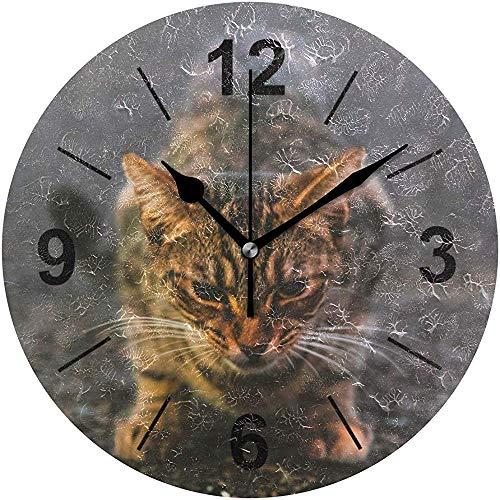 L.Fenn stille kantoor decoratieve diameter wandklok ronde grijze kat op de vloer