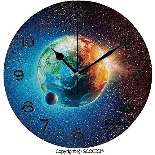 TABUE Ronde Muur Klok, Planeet Aarde in Zonnestralen Elementen Astronomie Sfeer Hemel Satelliet Maan Maan Afbeelding Rustige Bureau Klok