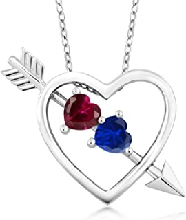 Gem Stone King 1.21 Ct Created Ruby and Simulated Sapphire Silver Heart and Arrow Pendant with 18 Inch Silver Chain