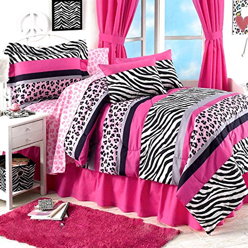 Teen Girls 6pc Jungle Queen Pink & Black Safari Zebra Leopard Comforter Sham(s) Bedskirt & Sheet Set - NOT Included: Pillows & Drapes (Twin Size)