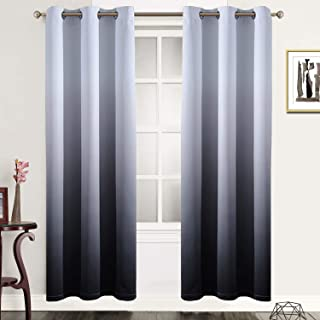 SimpleHome Gradient Color Ombre Blackout Curtains Thickening Polyester Eyelet Top Panels Thermal Insulated Grommet Window ...