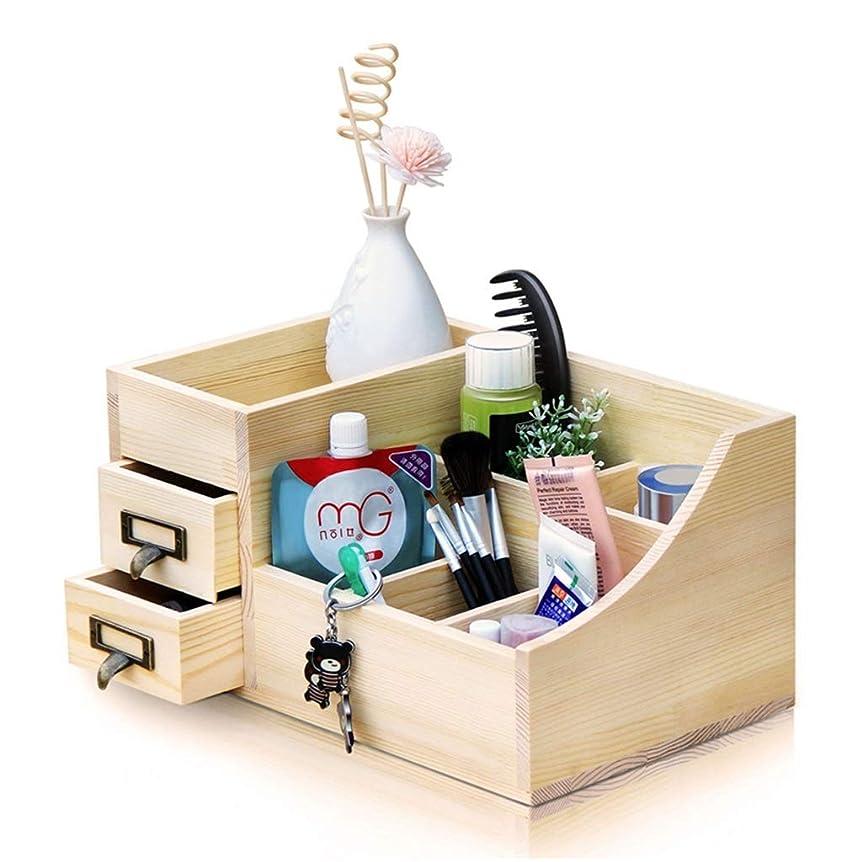 交じる十分ではない闇化粧品収納ボックス化粧品収納ラックドレッシングテーブル収納ボックスデスクトップ収納ボックス (Color : Wood color, Size : 34x20x17cm)