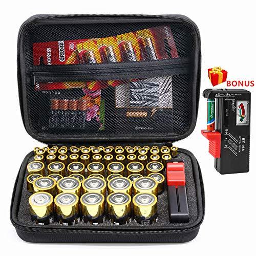 SURDAR 80+ Batteries Organizer Aufbewahrungstasche Hard Case Tragetasche Box Holder- Hält AA AAA C D Enthaltener Batterietester BT-168 (Nicht Enthaltene Batterien)