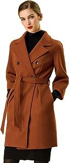 Allegra K Women's Double Breasted Notched Lapel Belted Long Raglan Winter Coats