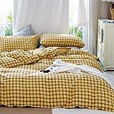 CLOTHKNOW Mustard Grid Comforter Sets Queen Geometric Plaid Bedding Comforter Full Girls Boys Comforter Black White Checker Tartan Bedding Yellow 3Pcs Comforter Sets Women Men Bedding