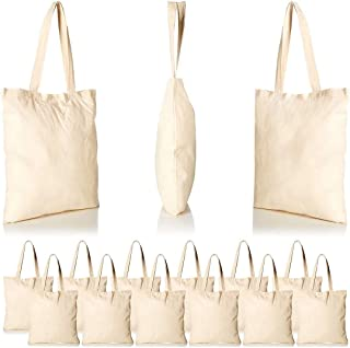Cotton Tote Bags Canvas Tote Bags Plain Reusable Canvas Grocery Bag Blank Shopping Bag White Cloth Bag with Handles for De...
