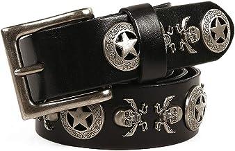 Women's Rivet Belt Female First Layer Leather Belt Unisex Jeans Decoration Casual (Color : Brown, Size : 115cm)