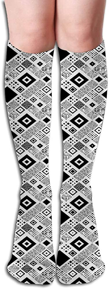 Men's and Women's Funny Casual Combed Cotton Socks,Geometrical Diagonal Pattern with Various Different Squares Contemporary