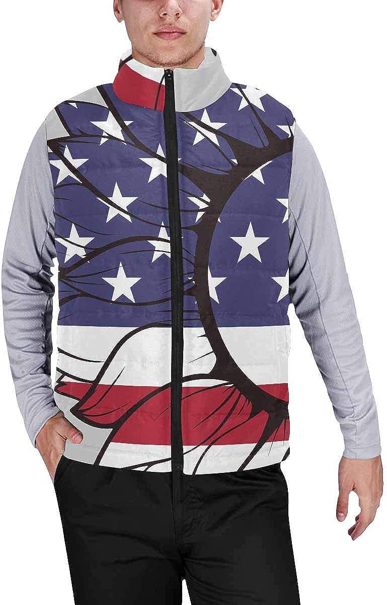InterestPrint Men's Lightweight Outwear Vest for Hiking, Fishing USA Flag in Sunflower M