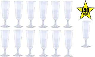 140 pc Plastic Classicware Glass Like Champagne Wedding Parties Toasting Flutes Party Cocktail Cups (Clear)