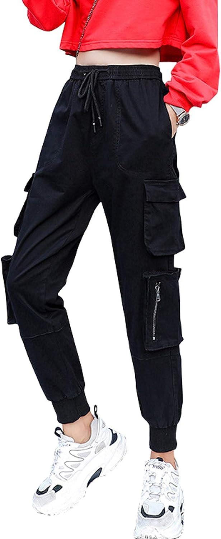 chouyatou Women's Military Cotton High Waist Multi Pocket Casual Cargo Jogger Pants