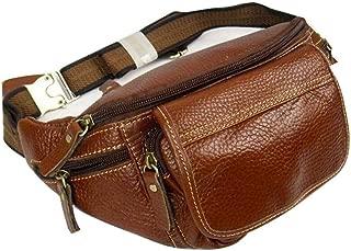 Mens Leather Bag Leather Men's Large-Capacity Waist Bag Underwear Multi-Function Flat Chest Bag Mobile Phone Bag Bag (Color : Orange, Size : S)