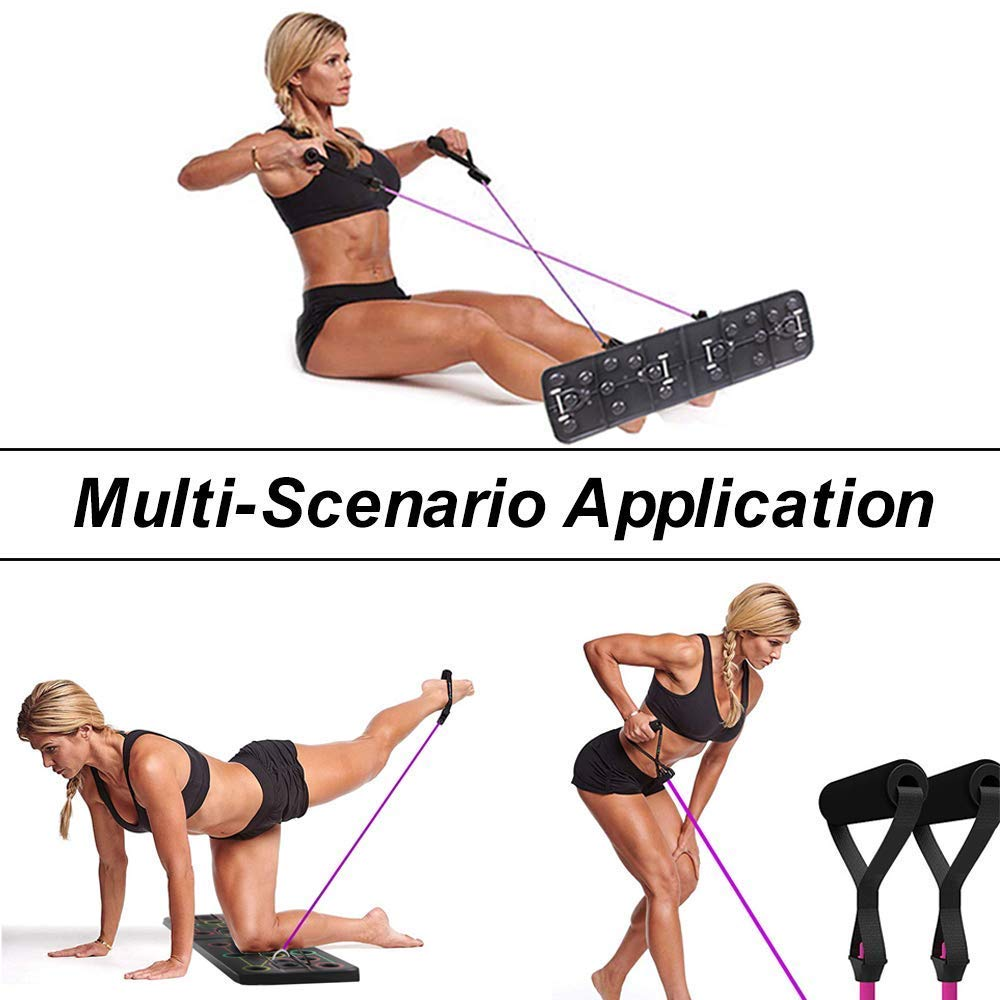 Pushup Bracket Board Workout Board Body Building Exercise for Men Women Home Workout Fitness Training 13-in-1 Portable Pushup Stands with Resistance Bands KSS Push Up Board Power System