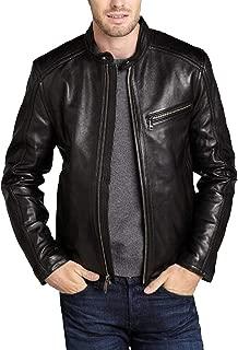 Men's Genuine Cowhide Leather Jacket (Black, Racer Jacket) - 1501421