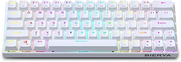 DIERYA Wireless 60% Mechanical Gaming Keyboard - White Bluetooth 4.0 Wired True RGB Backlit Compact 63 Key Computer Keyboa...