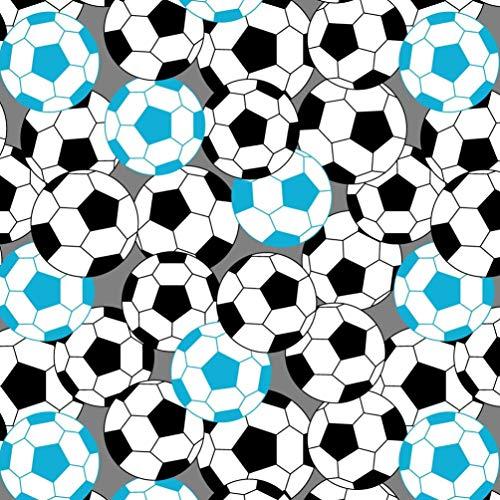 Erstklassiger Baumwollstoff 0,5lfm, 100% Baumwolle, modische Muster, Breite 160cm – blauer Fußball