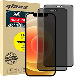 """Holahoney Privacy Screen Protector for iPhone 12 Pro Max (6.7"""")(Full-Coverage),(Case Friendly) Anti-spy Tempered Glass- 2 ..."""